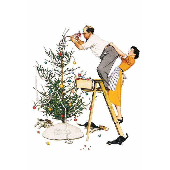 Charlton Home Trimming The Tree By Norman Rockwell Painting Print On Wrapped Canvas Norman Rockwell Christmas Norman Rockwell Paintings Rockwell Paintings