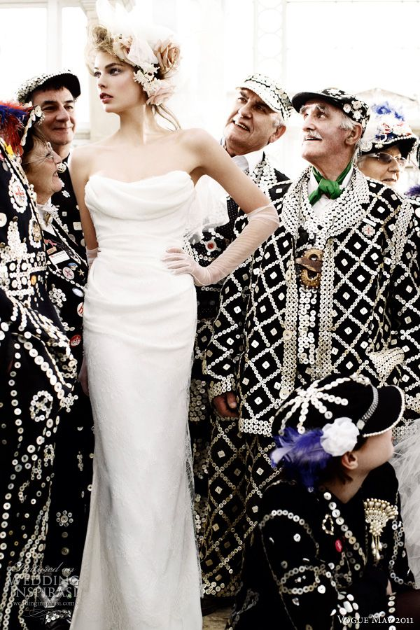 vivienne westwood wedding dress 2011 - Model Madelene de la Motte in a strapless silk and lace column wedding dress by Vivienne Westwood, surrounded by Cockney Costermongers, shot by photographer Mario Testino for British Vogue Royal Wedding Issue May 2011