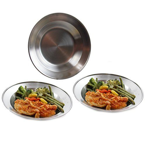 Wealers 8.5 Inch Stainless Steel Round Plate Set for Camping Outdoor with a Mash Carry Bag (6 Pack). For product info go to:  https://all4hiking.com/products/wealers-8-5-inch-stainless-steel-round-plate-set-for-camping-outdoor-with-a-mash-carry-bag-6-pack/