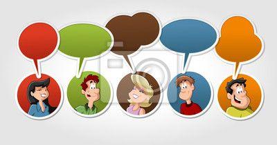 Vinilo Grupo de gente que habla de dibujos animados con globo de diálogo