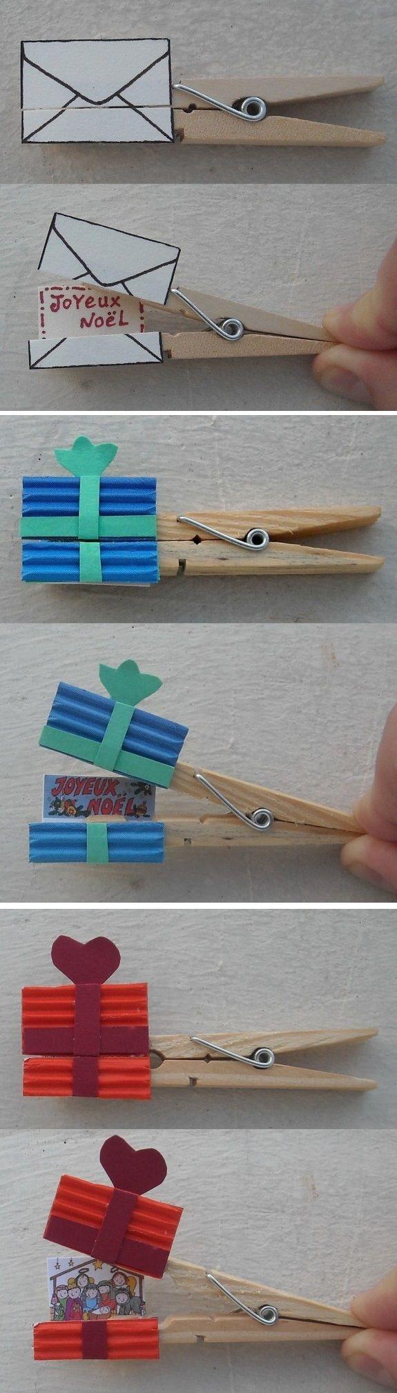 Pince à linge ornée d'une enveloppe ou d'un paquet-cadeau et qui s'ouvre sur un message ou un dessin de Noël.