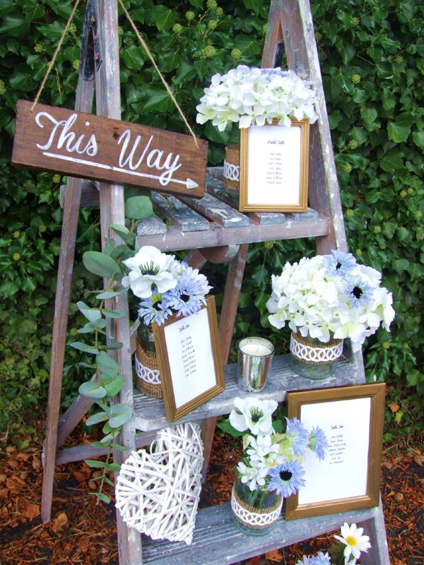 Rustic ladder table plan, wedding prop hire, Rustic Romance - Sweetpea and Ivy