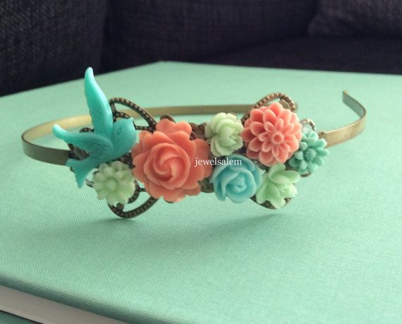 Coral Mint Green Wedding Headband Bridal Headpiece Peach Pink Mint Aqua Teal Floral Collage Flower Blue Bird Pastel Colors Soft Romantic H1