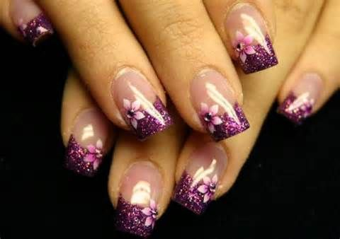 purple flower French manicure nails