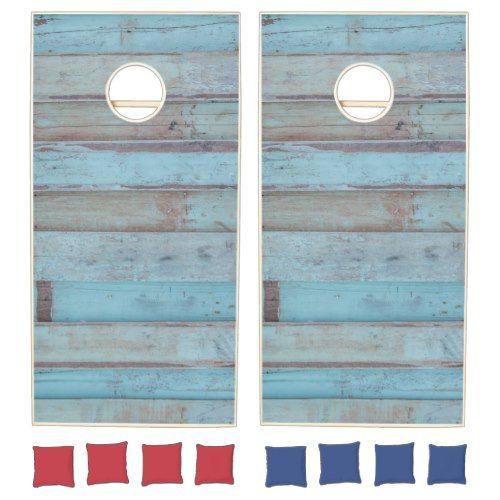 Painted Blue Wooden Beach Panel. Cornhole Set