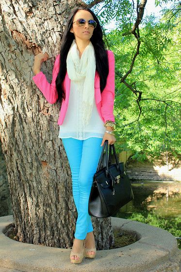 loveee color blockingLight Pink Blazers, Colors Combos, Colors Jeans, Colors Block, Cute Outfit, Bold Colors, Bright Colours, Bright Colors, Pink Blazers