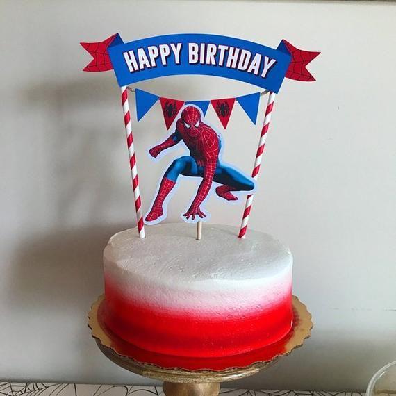 Admirable Spiderman Cake Topper Spiderman Birthday Party Spiderman Etsy Funny Birthday Cards Online Unhofree Goldxyz