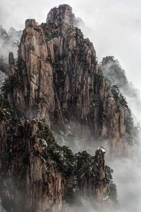 Huangshan Berg, Anhui, China. Aufgenommen vom Beginn des Glaubensgipfels nach