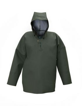 WATERPROOF SEA SMOCK Model: 1066 The smock is made with hood, sleeves with wind-cuff and fastened with 2 snaps at front part. The fabric used for production is called Plavitex Heavy Duty as it is a strong waterproof fabric recommended for fishing industry and for hard work conditions at sea. Thanks to double welded high frequency seams the product protects against rain and wind and salt water. The smock conform to EN ISO 13688 and EN 343 standards.