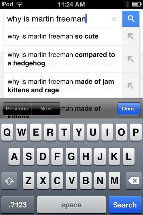 The most important question in life : Why is Martin Freeman made of jam, kittens, and rage?