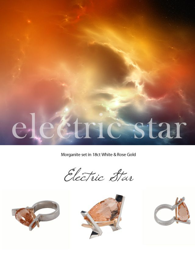 The Electric Star - Morganite set in 18K White & Rose Gold