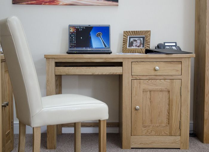 Torino Oak Small Computer Desk Very Simple Oak 1 Drawer