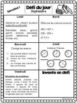 RENTRéE SCOLAIRE - DéFI DU JOUR (SEPTEMBRE) - TeachersPayTeachers.com