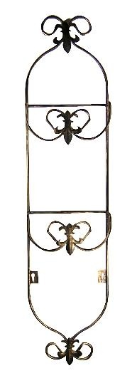 Fleur de Lis Plate Display Stand - measures 34 1/2 inches tall and 8 inches wide with a projection of 2 1/4 inches. Black and Gold finish. Comes complete with mounting hardware.