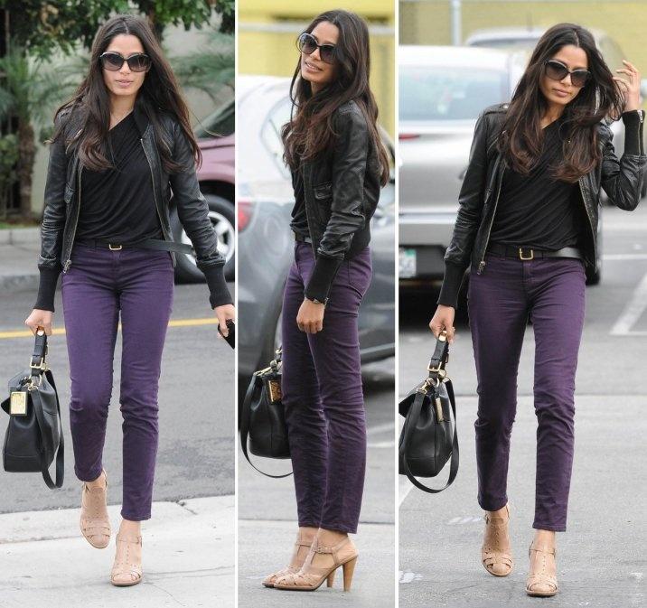 Freida Pinto. <3 dark purple pants.