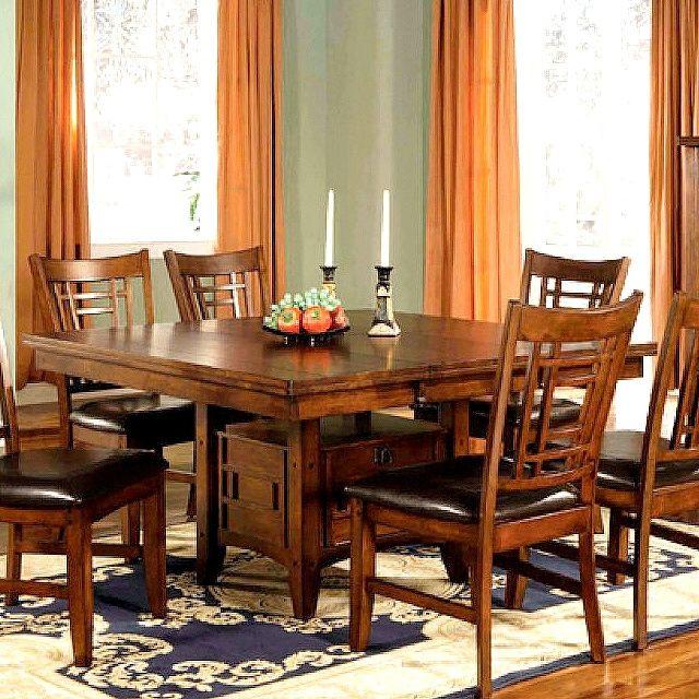 mission craftsman pecan dining table w leaf mission furniture