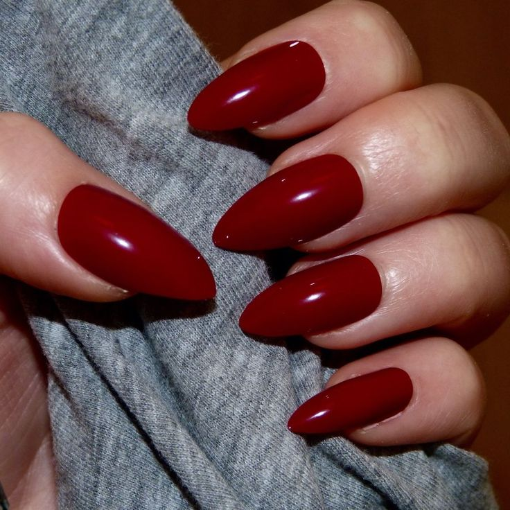 20x Hand Painted Berry Red Stiletto False Nails   eBay