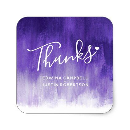 Thanks purple watercolor wash wedding stickers - wedding stickers unique design cool sticker gift idea marriage party