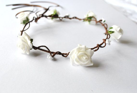 white flowers on a natural look vine girls flower crown childs headdress halo wedding flower girls minimaids festival prom