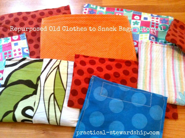 Upcycled and Repurposed Snack Bag TutorialReusable Snacks, Repurposing Clothing, Bags Tutorials, Lunches Bags, Sewing Snacks Bags, Homemade Snacks, Repurposing Snacks, Bag Tutorials, Upcycling Repurposing