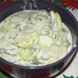 "Mizeria (Polish Cucumber Salad) | ""I made this dish for my Polished themed Christmas eve dinner. It was a huge hit and everyone raved about.I was extremely happy with the results of this recipe."""