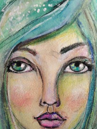 One of my latest girls... love to paint girls, mixed media.