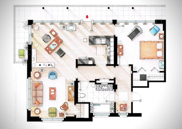 Hand Rendered Floor Plans of Your Favorite TV Characters | Inthralld