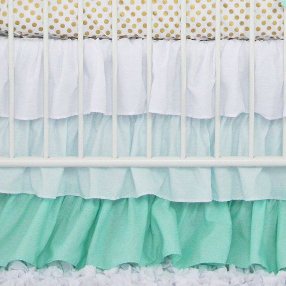 Tiffany blue and Mint Ruffle crib skirt. Baby girls room is starting to come along. Can't wait for this to come in!