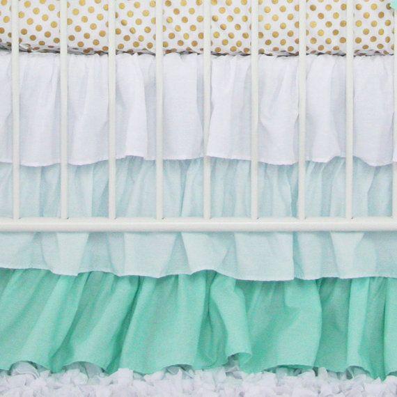 Mint Ombre Gradient Ruffle Crib Skirt by CadenLaneBabyBedding