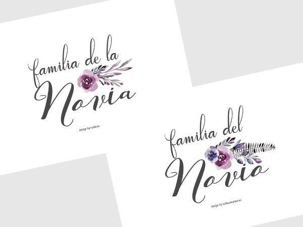 Cartel imprimible gratuito para señalar los asientos reservados para vuestros familiares en la boda  Tu día Con Amor detalles e invitaciones