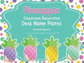 These Pineapple desk name plates are a cute and colorful addition to your classroom! There are 2 cards per page and the cards can be printed and laminated for use in your daily schedule display.This is a PPT file so you can add a text box and student names before you print.Check out my store for other Pineapple Themed items!