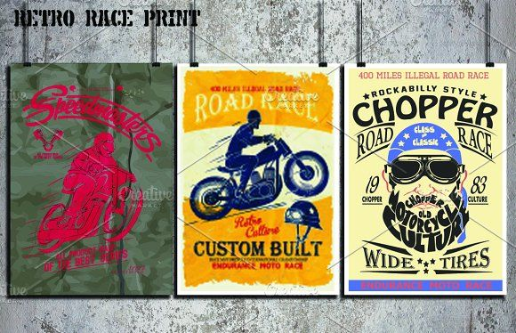 Race print vector set by OLD SCHOOL on @creativemarket