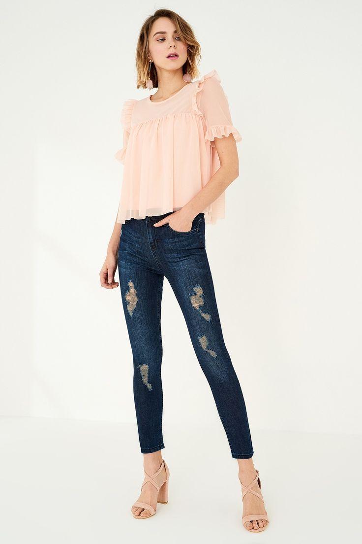 Blue Yırtıklı Yüksek Bel Skinny Jean TRENDYOLMİLLA   Trendyol