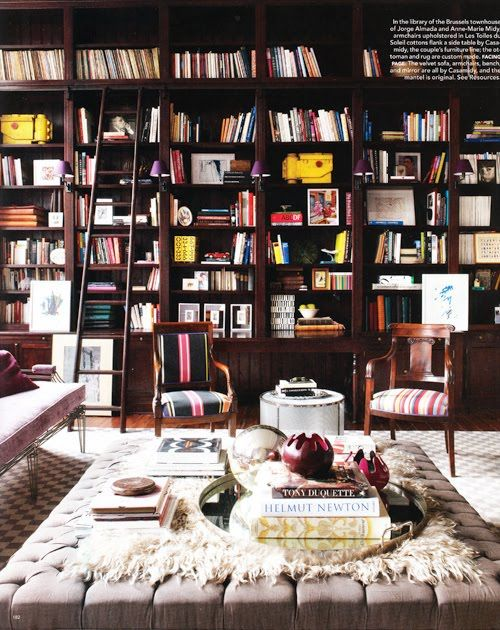 .: Ladder, Bookshelves, Dreams Libraries, Living Rooms, Elle Decor, Home Libraries, Built In, House, Bookca