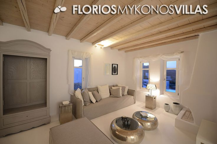 The minimal decor with elegant furniture provides a special style to the luxury Villa. The spacious living room (with fireplace) and dining room adjacent to the kitchen, is equipped with all modern appliances. FMV1327 Villa for Rent on Mykonos island, Greece. FMV1327 http://florios-mykonos-villas.com/property/fmv1327/