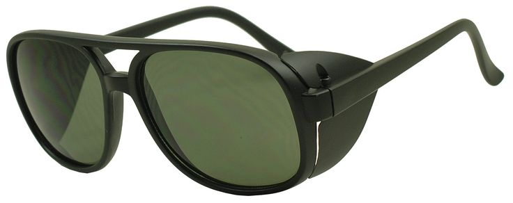 Sunglass Stop - Oversize Round Aviator Bomber Sunglasses with Side Shields (Matte Black | Green Lens)