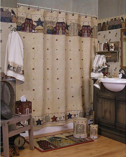 Primitive Welcome Shower Curtain Towels Accessories Zoom Primitive Country Bathroomsprimitive Bathroom Decorprime