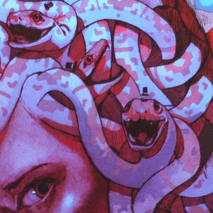 """Fantastic detail from """"Medusa"""" lithograph by the street artist Bezt. Discover more here."""