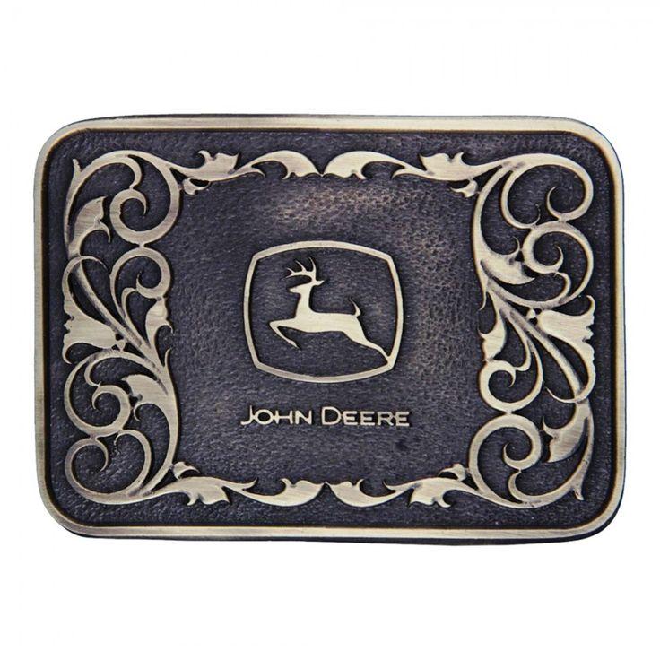 John Deere Brass Logo Filigree Cast Buckle - Beltbuckles & Knives - Men's | RunGreen.com