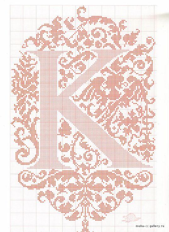 "cross stitch alphabet in 2 colors- very ornate monogram 26 single letters -- ""K"" #11"