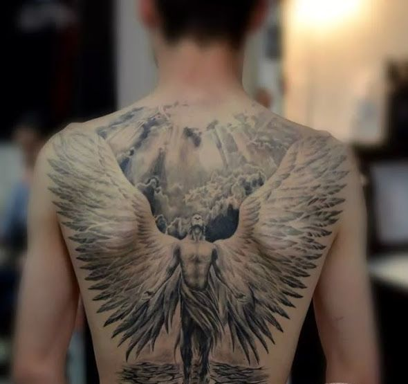 Back angel tattoo  #angeltattoo #tattoo                                                …