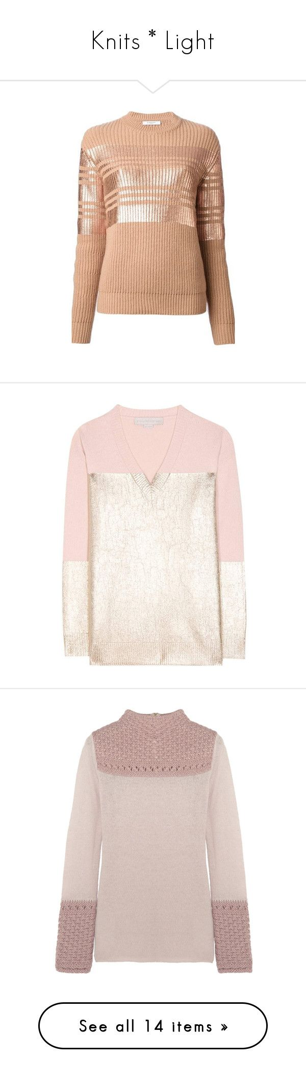 """""""Knits * Light"""" by purplehazexxx ❤ liked on Polyvore featuring tops, sweaters, givenchy, blusas, beige, long sleeve tops, red top, metallic sweater, ribbed sweater and wool sweaters"""