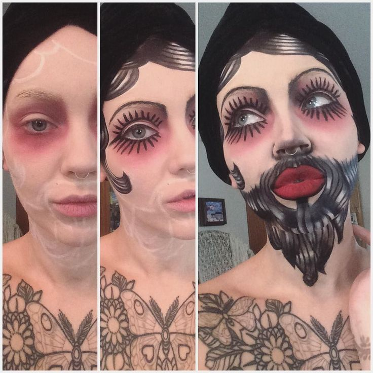Bearded Lady makeup! I love this unique costume. #nyx black gel liner & smudger. #meltcosmetics dark matter & love sick shadow. nyx milk jumbo pencil. #jeffreestarcosmetics redrum liquid lipstick. by itslikelymakeup