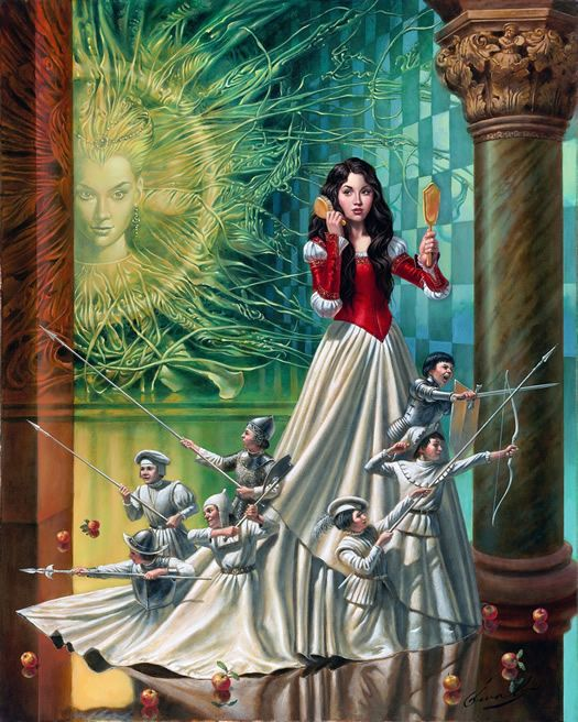 Mirror Asylum (Snow White) by Michael Cheval, Original Oil on Canvas 24x30 contact gallery for availability at info@huckleberryfineart.com