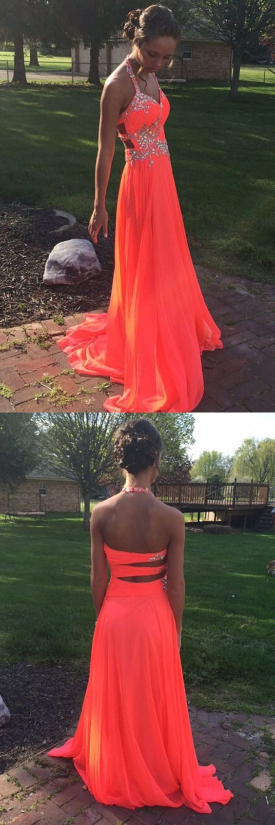 prom dresses,2017 prom dresses,orange prom dresses,halter prom dresses,backless party dresses,evening dresses,sparkling evening dresses,vestidos