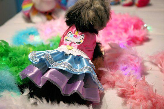 Elegante vestido de tutú de unicornio para mascotas en rosa, azul bebé, blanco y lavanda   – Dogs I Just Love