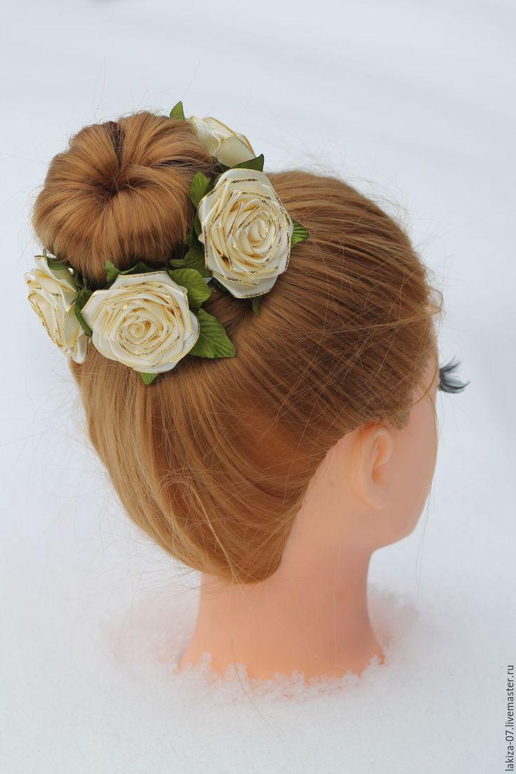 Купить Шикарная резинка на пучок с розами ручной работы - комбинированный, украшения ручной работы