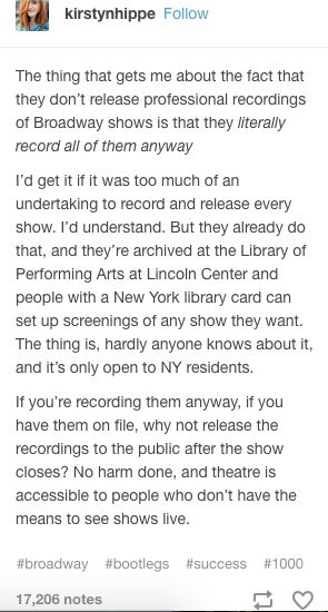 Because then why would they see it in person if they could just watch it at home?