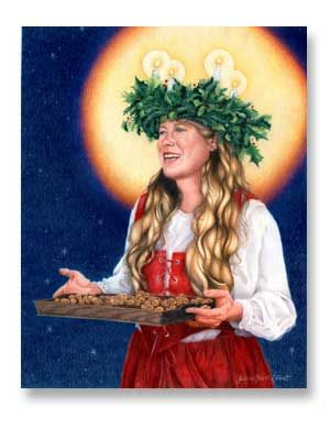 Celebrating heritage: wearing the Santa Lucia crown with lit candles is one of the fun traditions in Swedish households that usher in the Christmas holiday season(km)