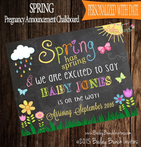 Spring Pregnancy Announcement Spring has by BaileyBunchInvites